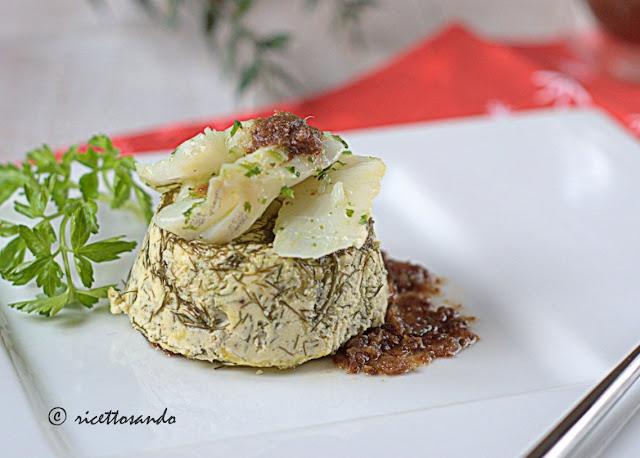 Baccalà su cheesecake di ricotta al finocchietto ricetta di pesce