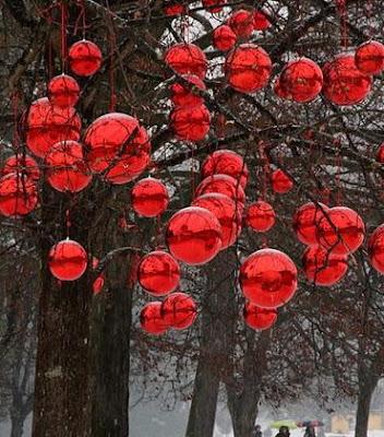 Bolas de navidad en un arbol real