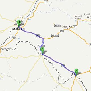Mapa indicando as cidades de Santana do Livramento; Quaraí e Uruguaiana.