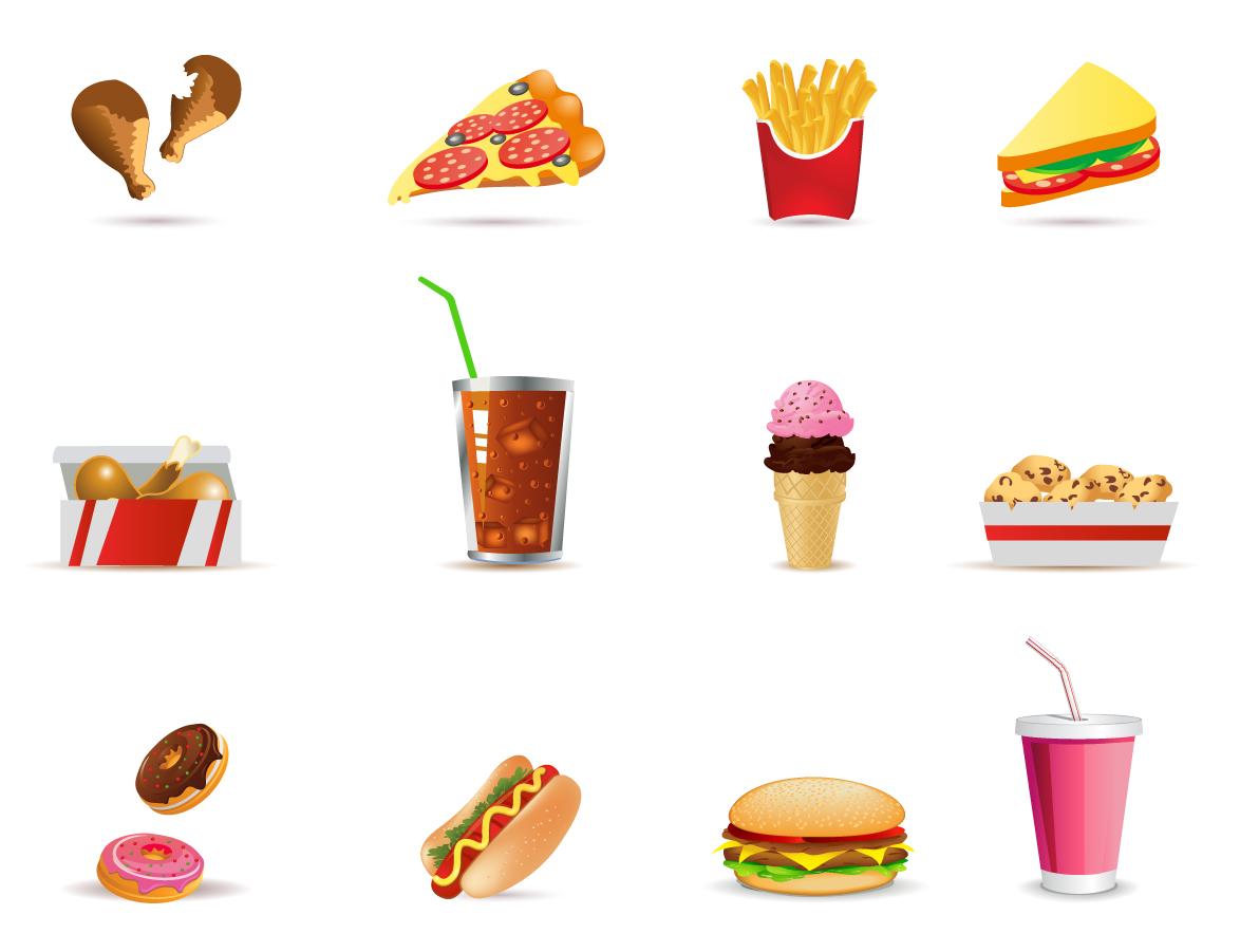 ファストフード アイコン Fast Food icons イラスト素材