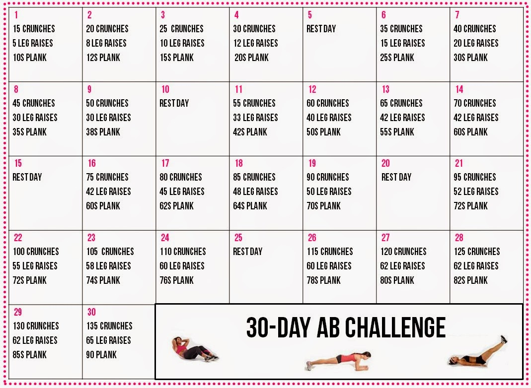 30 Day Upper Body Challenge Calendar After seeing these challenges