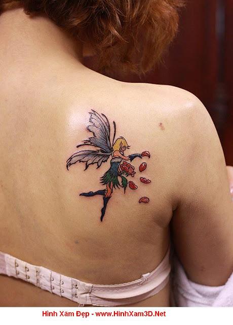 hình xăm thiên thần cho nữ