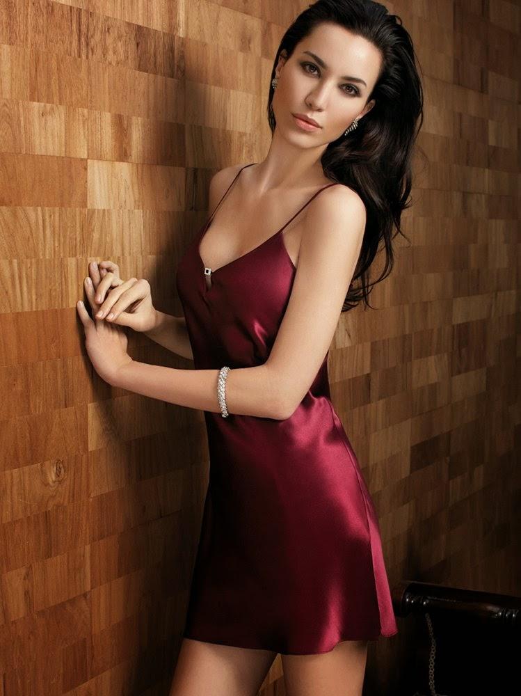 Seidennachthemd Crystal burgunder-rot von Luna di Seta