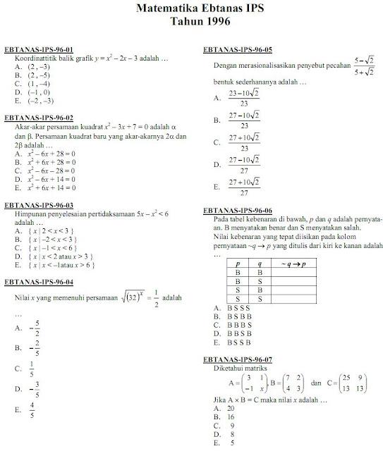 Matematika Di Sma Soal Ujian Nasional Matematika Ips Sma Atau Ma 1996