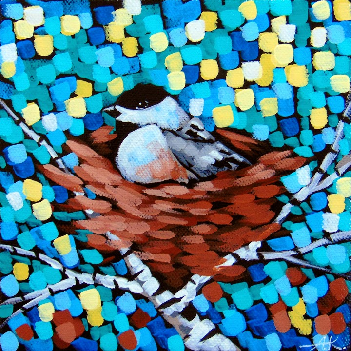 Chickadee, Nest, Birch, Aaron Kloss, Acrylic Landscape, Minnesota, Dailypaintworks