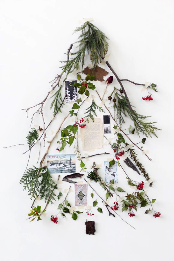 albero di natale alternativo rami e decori