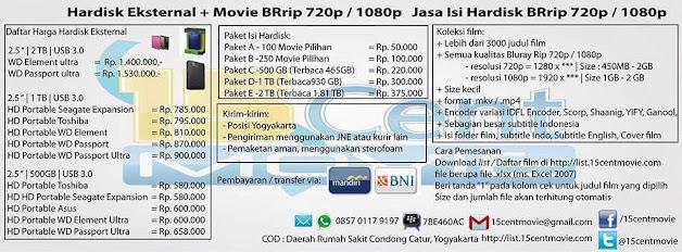 Jasa Isi Hardisk BRrip 720p / 1080p