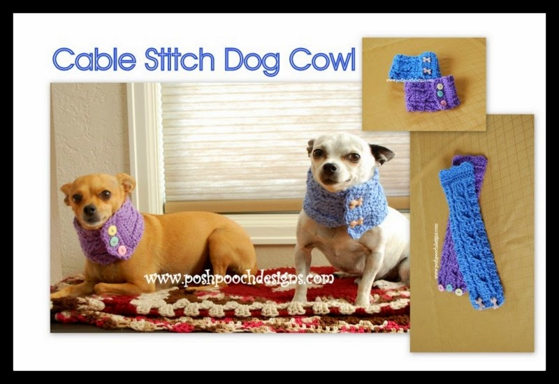 Posh Pooch Designs Dog Clothes: Cable Stitch Dog Cowl With ...