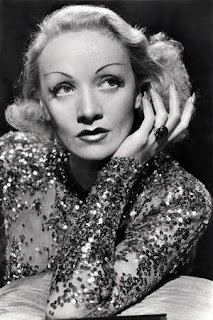 Vintage black and white photo of Marlene Dietrich.