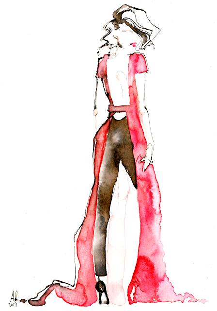 dior couture red gown fashion illustration watercolor - Alessia Landi