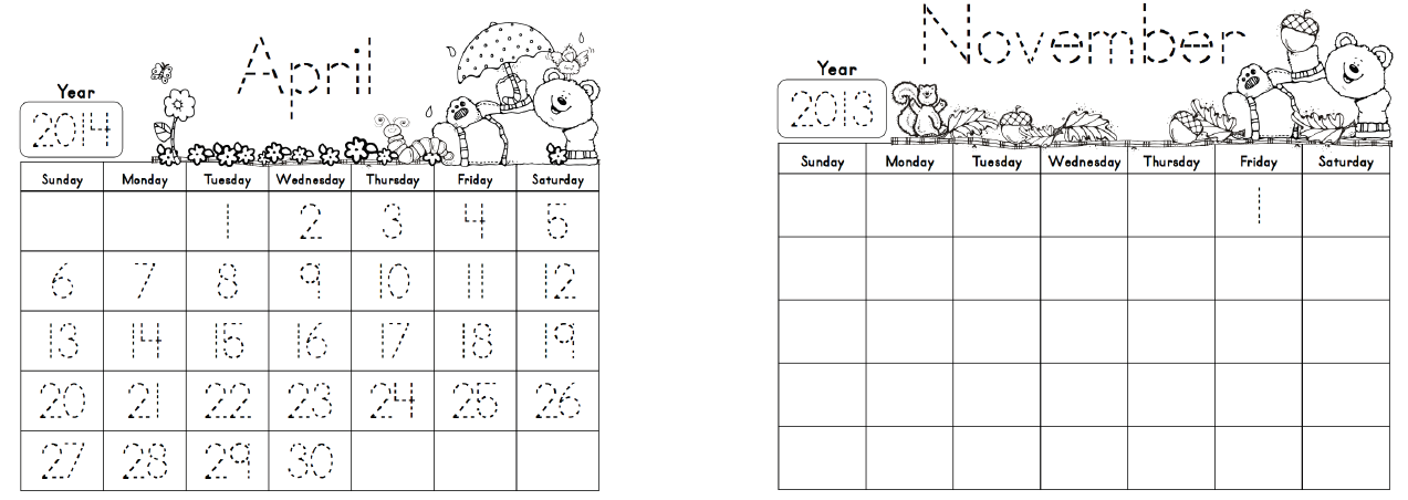 Calendar Trace Kindergarten : Printable calendar with traceable numbers search