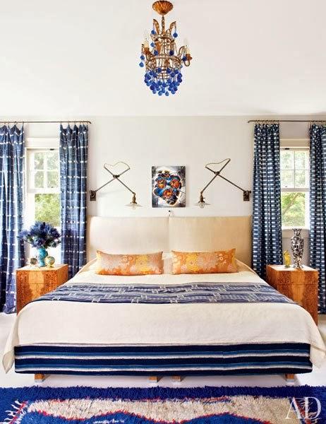 dormitorio decorado en tonos azules