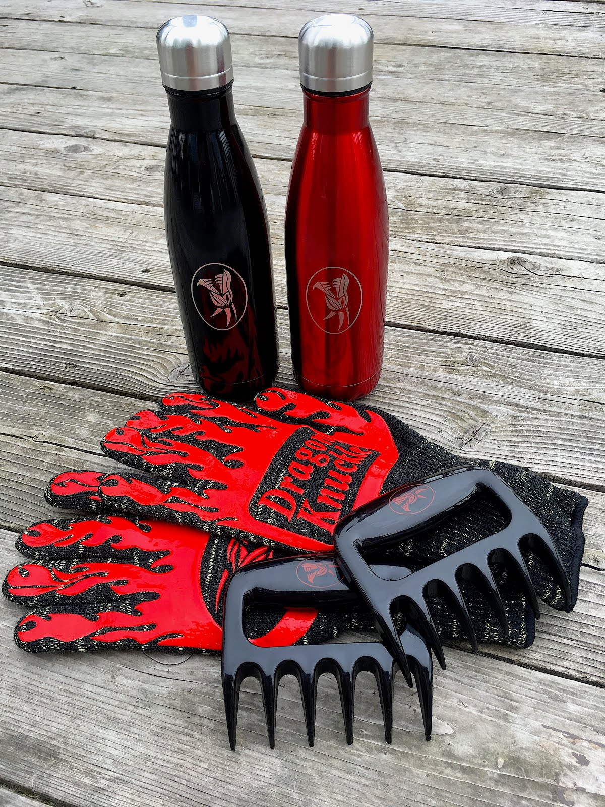 Our Stainless Steel Water Bottles, BBQ Gloves and Shredder Claws