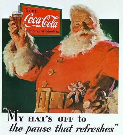 Primeira propaganda da Coca Cola com Papai-Noel em 1930.