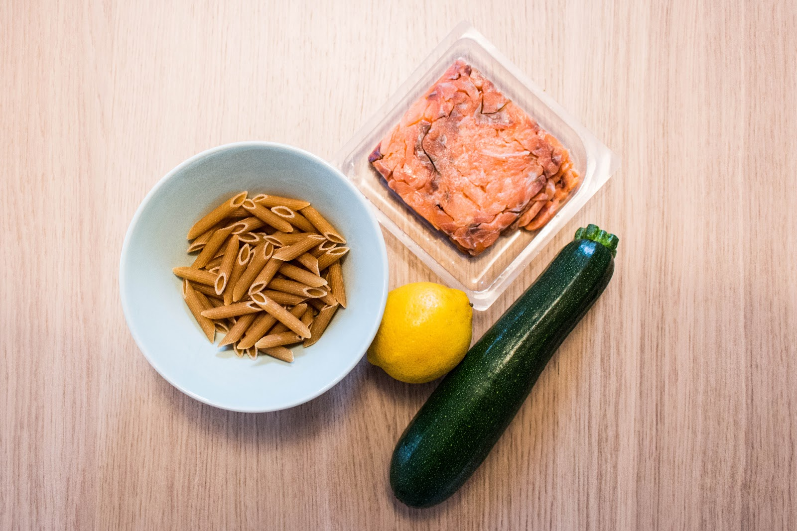 Ingredients for smoked salmon and courgette pasta | Svelte Salivations