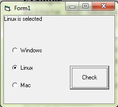 Example program with three option buttons