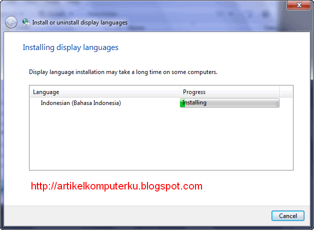Cara install Windows 7 LIP Bahasa Indonesia