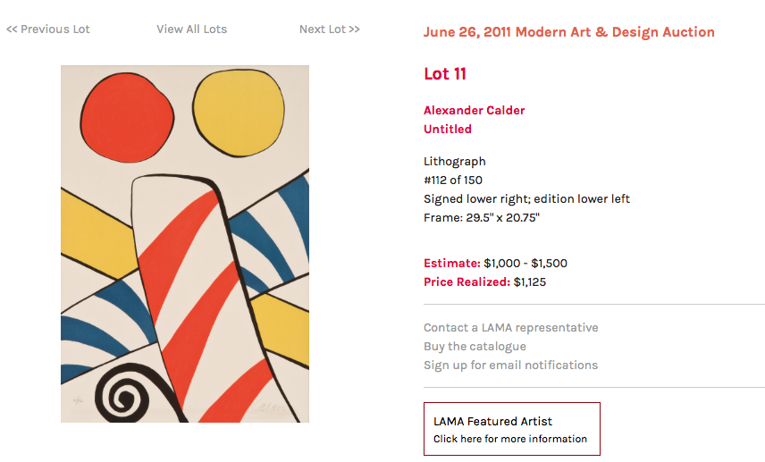 Counterfeit Calder sold by LA Modern for $1125
