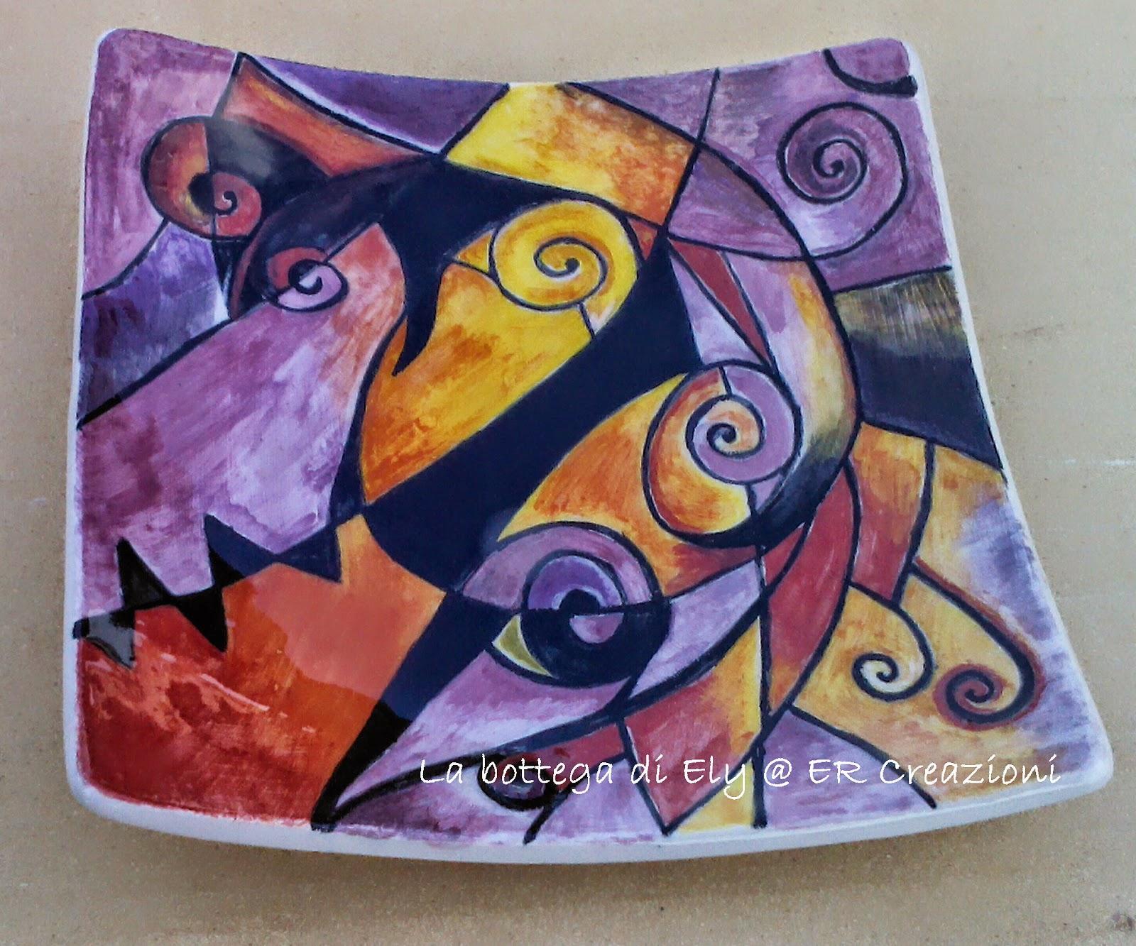 piatto rettangolare in ceramica fatto a a mano fantasia viola arancio e nera