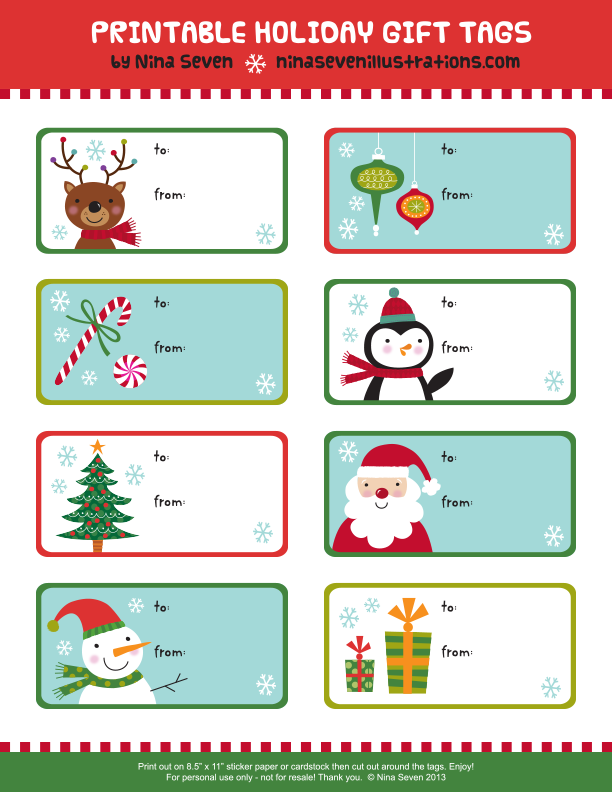 Intrepid image regarding free printable holiday gift tags