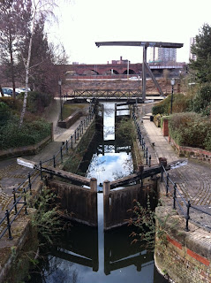Small canal linking up with the River Irwell, Manchester