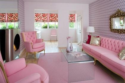Salas en color rosa y gris colores en casa for Wohnzimmer rosa