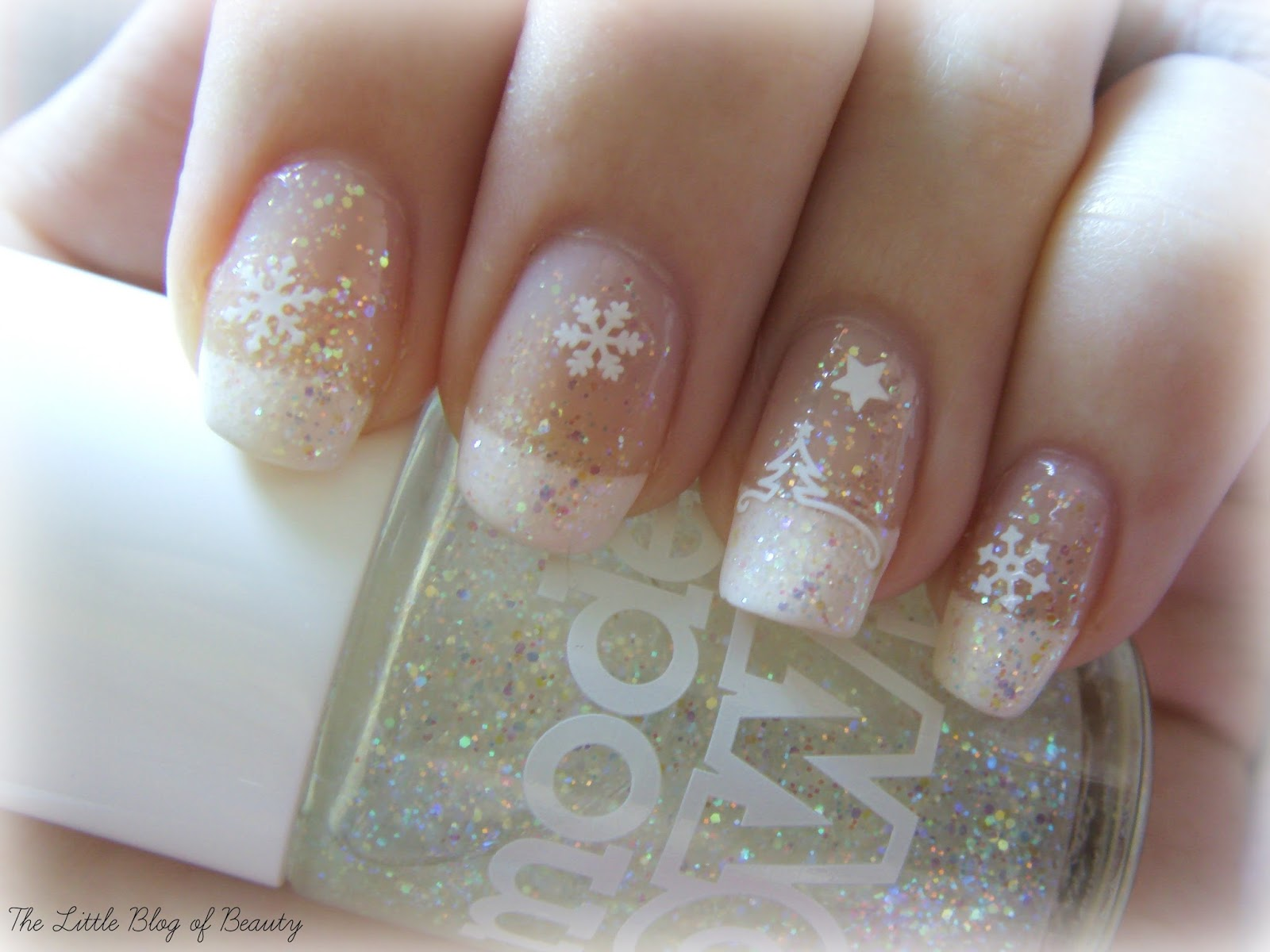 Christmas nail art - Snow globe nails