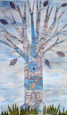 "Large Mixed Media Collage Map Art Tree Abby Sernoff  ""Love Tree"""