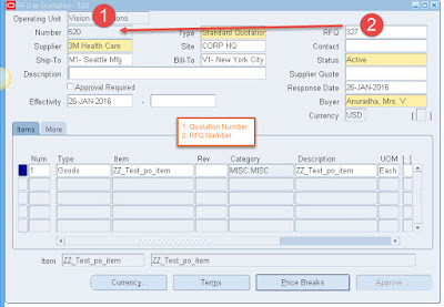 Oracle Purchase Order quotation Creation