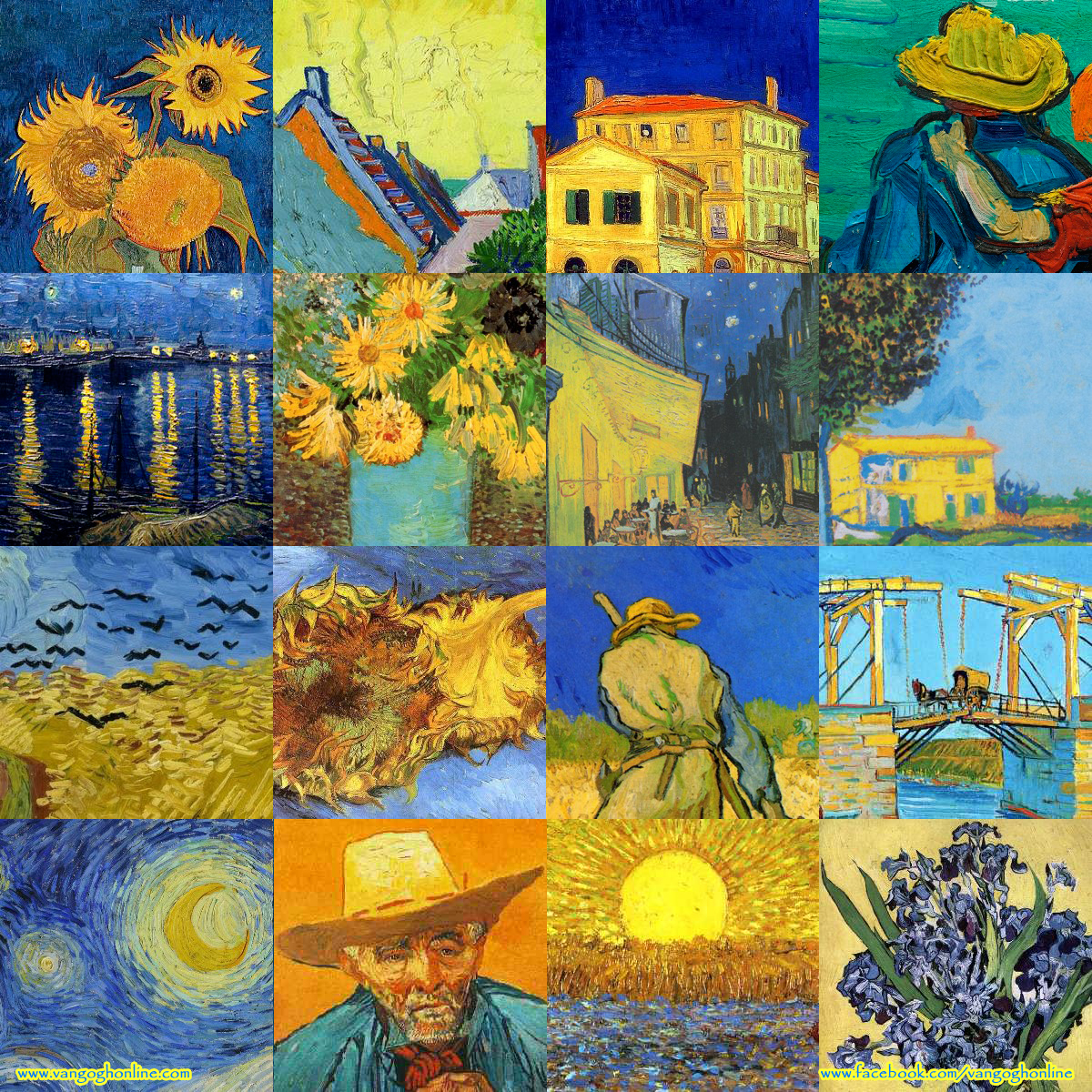 Montage of Vincent van Gogh paintings using the colors blue, yellow, and orange