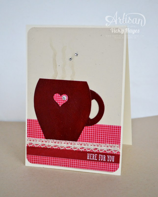 UK Stampin demonstrator Vicky Hayes shows how to  make a mug from the Curvy Keepsake Box