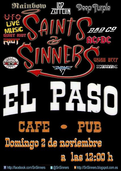 Cartelera Actución SnSinners, El Paso, Torrevieja