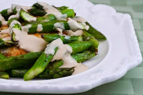 Chicken and Quickly Roasted Asparagus served with Tahini Sauce found on KalynsKitchen.com