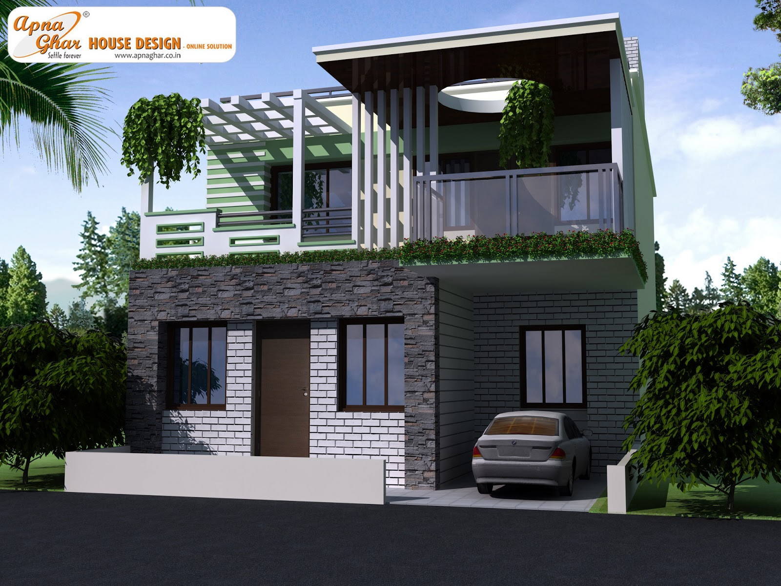 Decosee modern beautiful duplex house design - Duplex home elevation design photos ...