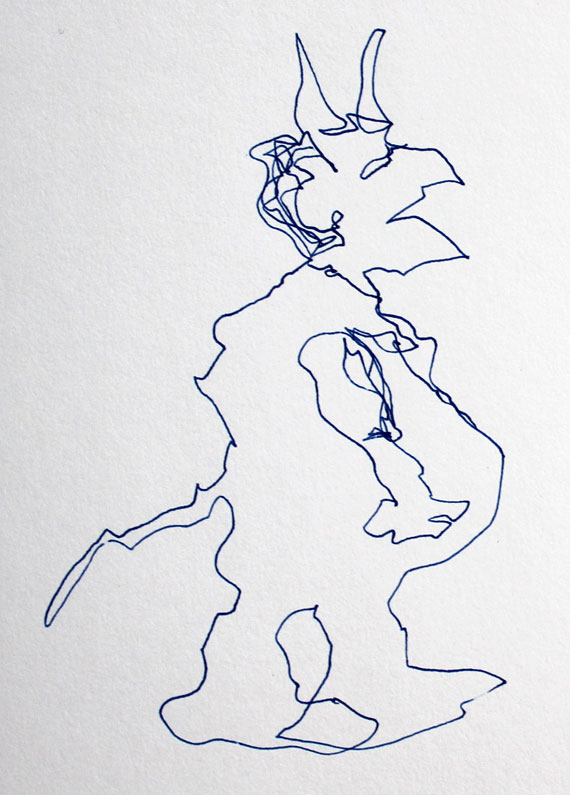 demon semi blind contour continuous line drawing