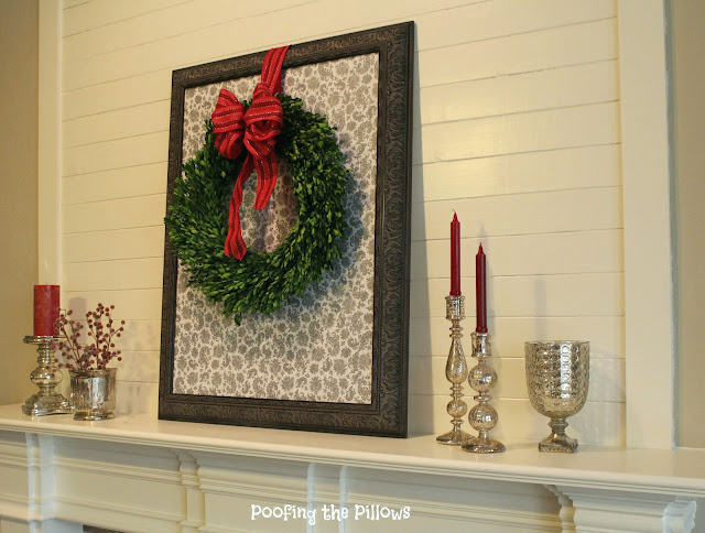 Shiplap makes the perfect backdrop for our Christmas wreath these days. Love this DIY project.