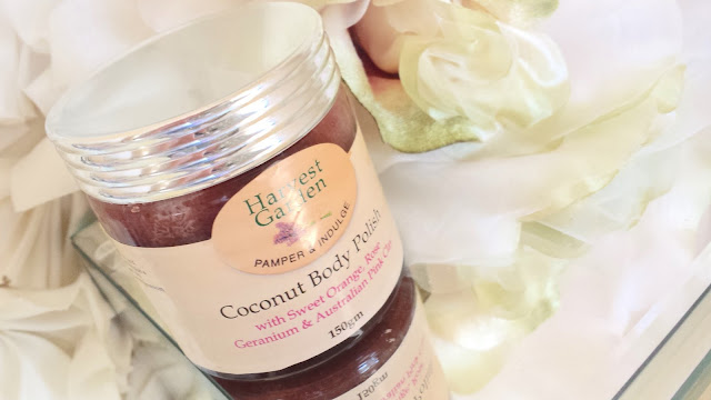 HARVEST GARDEN COCONUT BODY POLISH AUSTRALIAN NATURAL HAND MADE SKINCARE FACE AND BODY REVIEW