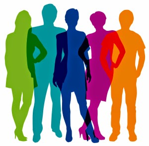 Rainbow coloured graphic outlines of five people standing