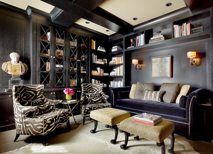 CAD INTERIORS design tips interior design black paint library living room den