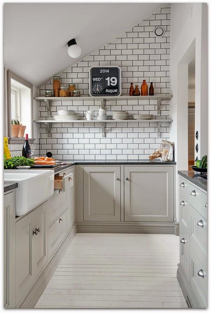 En casa de oly tendencias de decoraci n para la cocina azulejo blanco lechada negra - Azulejos rectangulares ...