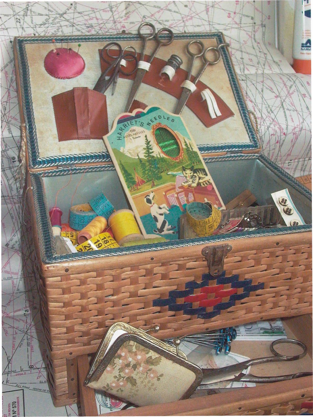 Ana caldatto antiga caixa tipo cesta de costura - Cesta de costura ...