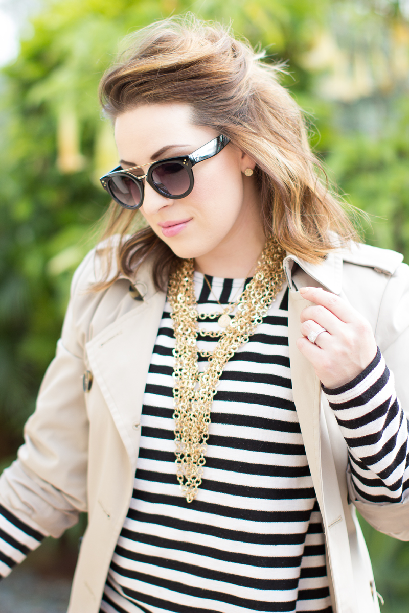 black and gold browbar sunglasses, striped tee + trench