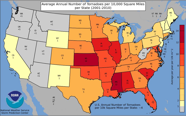 Weather blog new tornado statistics arkansas is in tornado alley