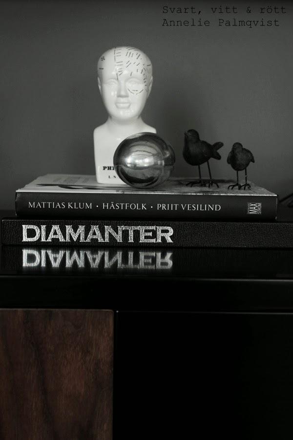 diamanter, fina böcker, mattias klum, hästfolk, svartvita böcker, Phrenology head i porslin. Autentisk historisk modell av vetenskaplig frenologisk uppdelning av hjärnan som användes i utbildning under 1800-talet. Tillverkad i porslin.fina omslag på böcker, coffee table books, på byrån, detaljer på tvbänken, vit byst, stålägg, ägg av stål, silverägg, ägg av silver, svarta kycklingar, svarta fåglar, details, detaljer, stilleben på tv-bänken, mörkt grå målad vägg, vardagsrum,