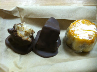 Chocolate covered moon cakes: coconut & black bean, and Mini Lotus Moon cake. Yummy!