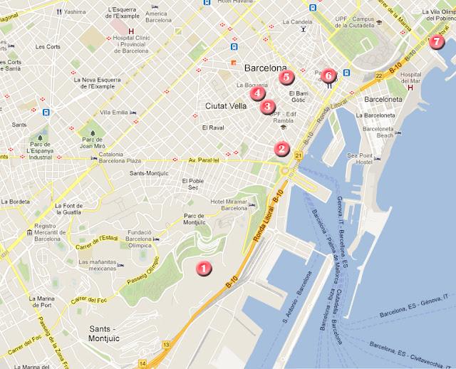 Ruta por Barcelona, mapa día 2