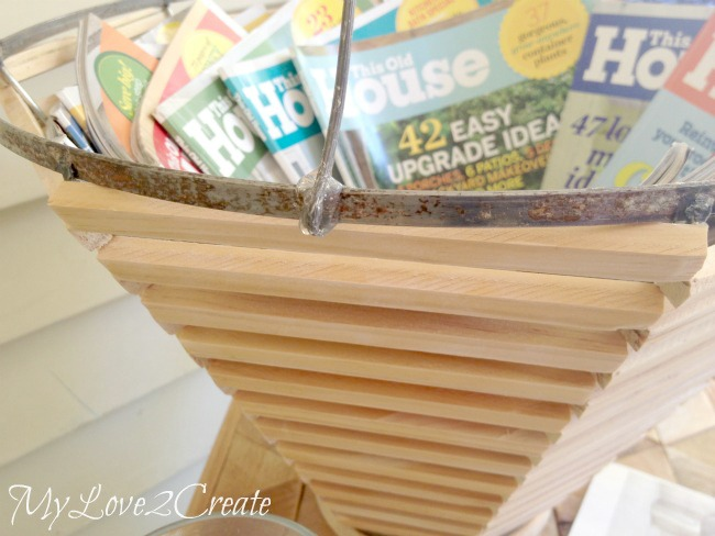 MyLove2Create Salvage Style, hot gluing handles onto basket