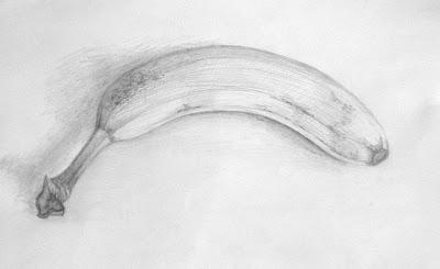 банан, рисунок, карандаш
