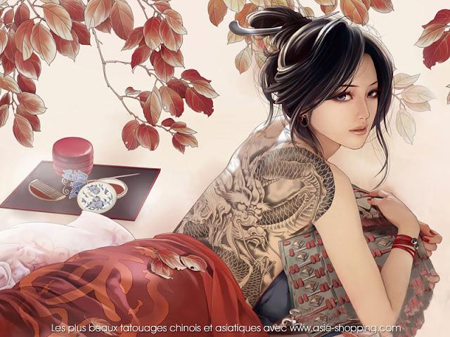 peinture de femme avec tatouage dragon sur le dos