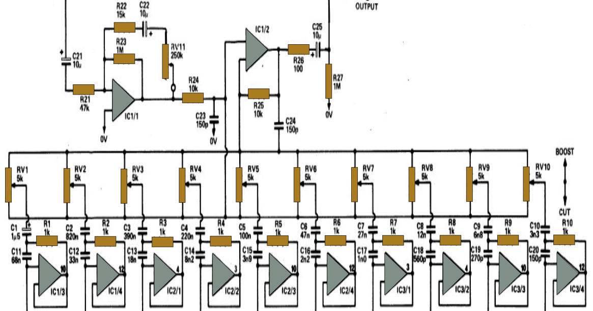 10 Band Graphic Equalizer Circuit For Home Theater Applications